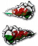 X-Large Long Pair Ripped Torn Metal Design With Wales Welsh Dragon CYMRU Flag Motif External Vinyl Car Sticker 300x170mm each